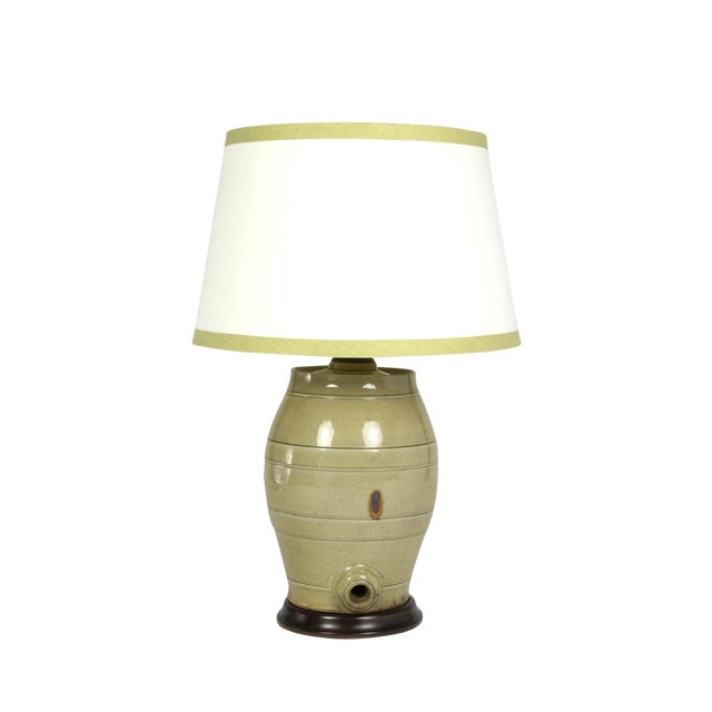 Pale Green Glazed Spirit Barrel, English Circa 1880 Mounted and Wired as a Table Lamp With Linen Shade For Sale