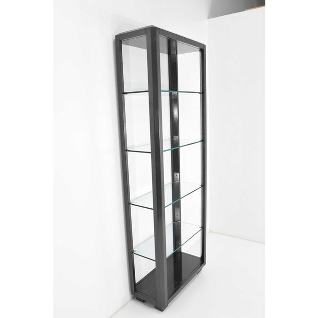 Silver Shelf Unit With Glass Shelves For Sale - Image 8 of 10