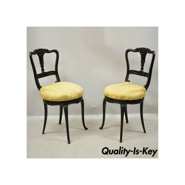 Antique French Victorian Carved Rosewood Small Petite Accent Side Chairs - Pair For Sale - Image 13 of 13