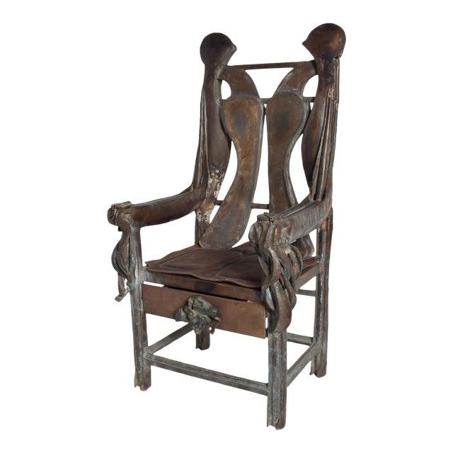Brutalist Sculptural Bronze Arm Chair Signed Zavala, Game of Thrones Era For Sale