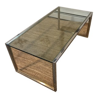 Vintage Mid-Century Modern Glass and Chrome Coffee Table For Sale
