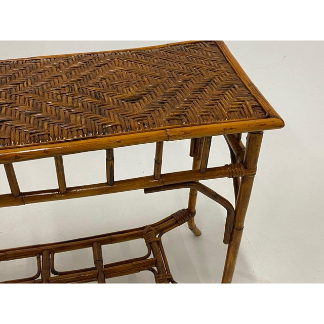 1970s Organic Modern Bamboo and Rattan Console For Sale - Image 5 of 12