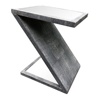 Vintage Mirror Top Faux Shagreen Z-Form Cocktail Table For Sale