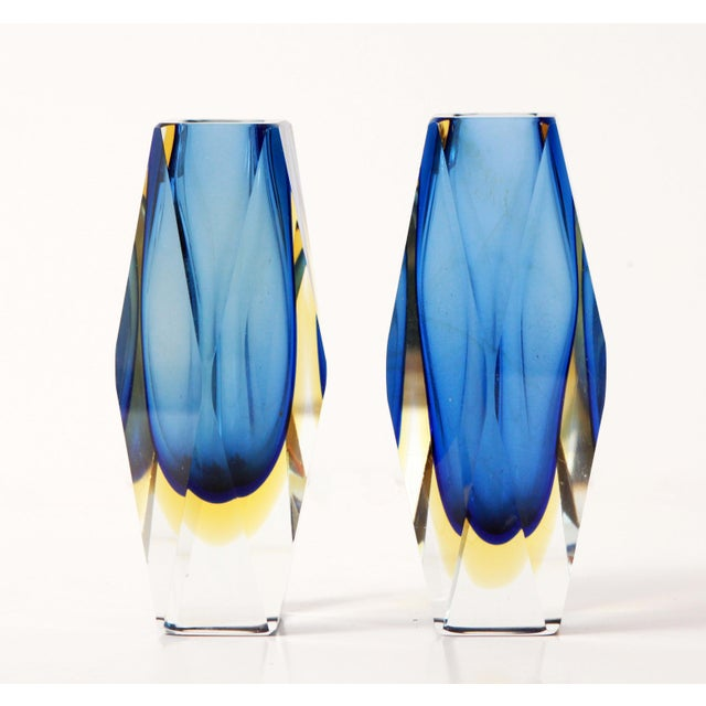 "Vintage 6"" Murano Art Glass Seguso Blue & Amber Faceted Vases by Alessandro Mandruzzato - a Pair For Sale - Image 9 of 9"