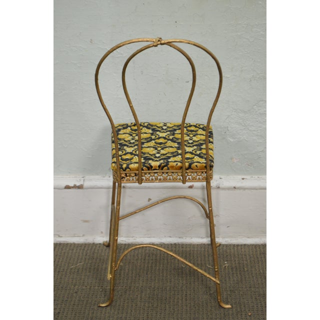 Antique Gilt Metal Faux Bois Aesthetic Side Chair For Sale - Image 4 of 11