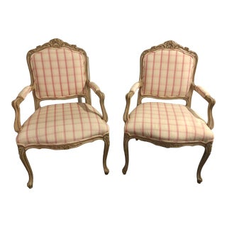 Late 20th Century French Provincial Style Armchairs- A Pair For Sale