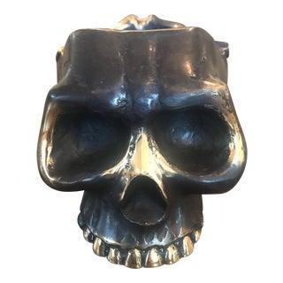 Brass & Bronze Skull Ashtray Dish For Sale