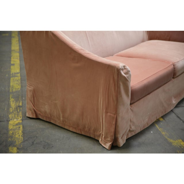 Early 21st Century Christian Liaigre Modern Sofa in Pink Velvet with 4 Pillows For Sale - Image 5 of 13