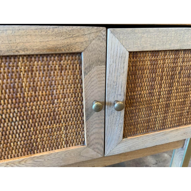 Metal 1950s Mid Century Modern Brass and Caned End Tables -a Pair For Sale - Image 7 of 9