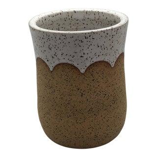 Handmade Wheel Thrown Speckled With White Scallop Design Vase