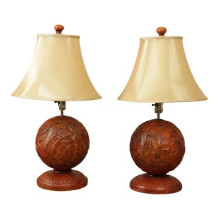 Quality Pair Curved Wood Sphere Table lamps For Sale