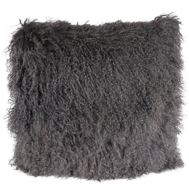 Custom Handmade Mongolian Lamb Pillow in Slate Gray with Cashmere Wool Back For Sale - Image 11 of 11