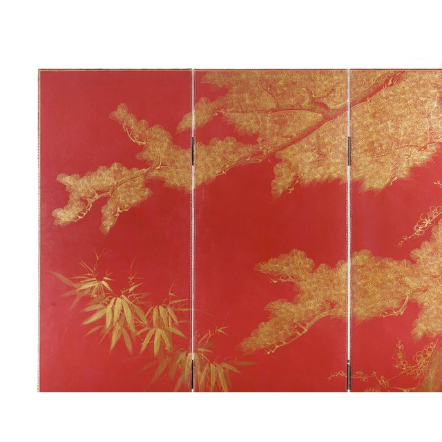 Chinoiserie Double-Sided Leather Burgundy Red Wisteria Scene Room Divider Screen by Lawrence & Scott For Sale - Image 3 of 13