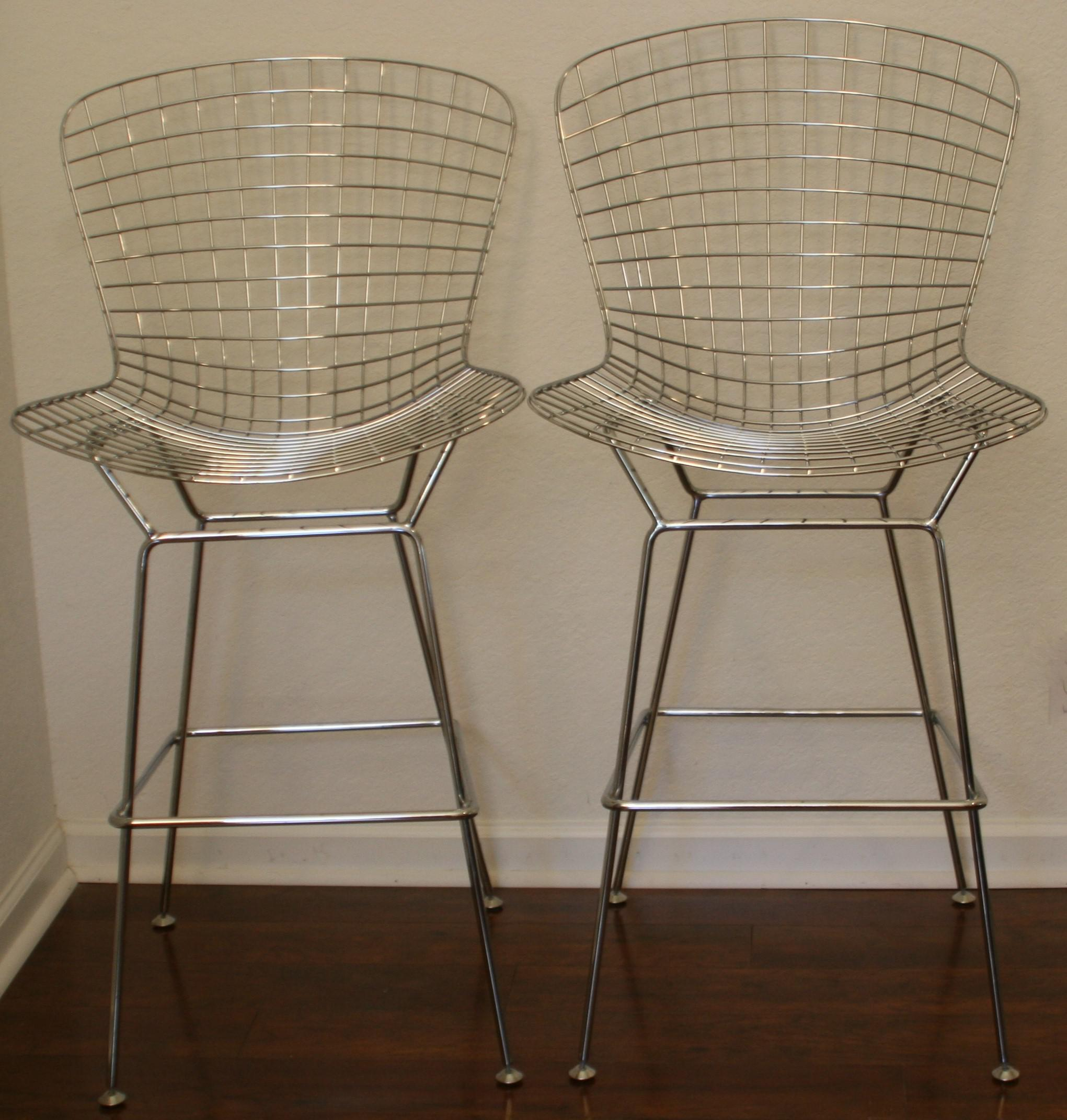 Mid Century Modern Bertoia Chrome Wire Counter Bar Stools   A Pair   Image 2