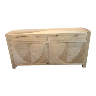 Vintage Modern Crespi Style Split Reed Credenza For Sale