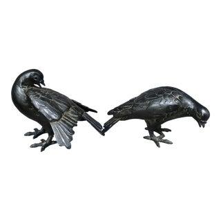 1950s Vintage Asian Metal Pigeon Figurines - a Pair