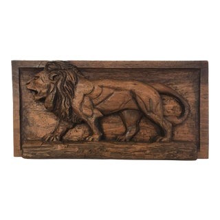 Folk Art Carved Relief Plaque of a Lion For Sale