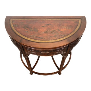 Drexel Heritage Ming Treasures Asian Demilune Console Table For Sale
