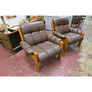 Vintage Mid Century Modern Ekornes Scandinavian Solid Teak and Leather Lounge Chairs- A Pair Preview