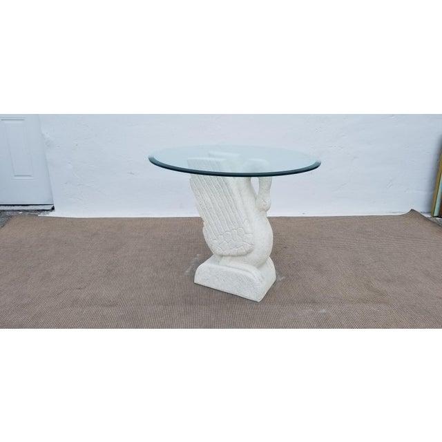 Hollywood Regency Sculptural Swan Shape Plaster Accent Table For Sale - Image 3 of 12