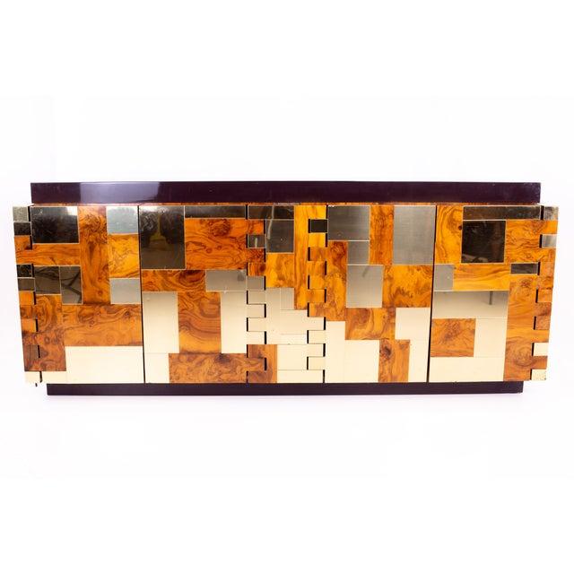 Brutalist 1960s Vintage Paul Evans Brass and Burlwood Brutalist Sideboard For Sale - Image 3 of 7