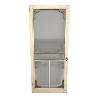 Vintage Country White Wood Framed Screen Door For Sale