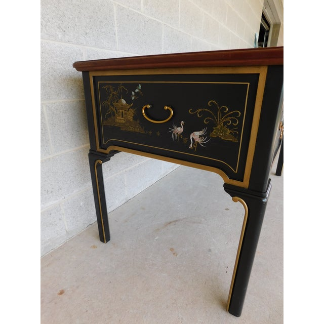 Sligh Chiniosere Paint Decorated Black Lacquer Tooled Leather Top Writing Desk For Image 12