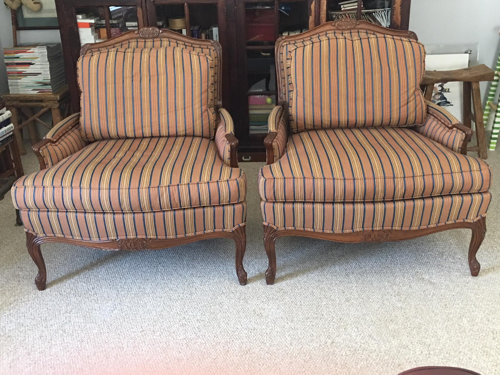 Bon Fabric Taylor King Bergere Chairs   A Pair For Sale   Image 7 Of 7