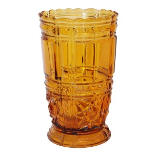 1950s Traditional Amber Cut Glass Vase