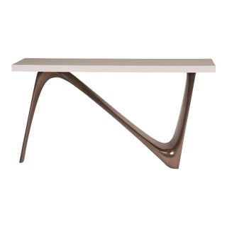 Amorph Aviva White Lacquered Top and Bronze Base Console For Sale