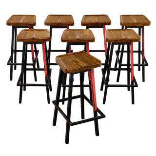 French Industrial Bar Stools - Set of 8 For Sale