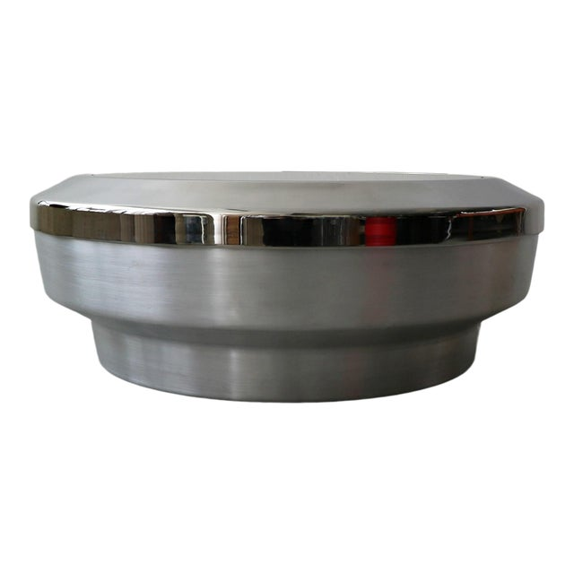 Round Aluminum Chrome and Mirror Drum Canister Coffee Table by Gj Neville For Sale