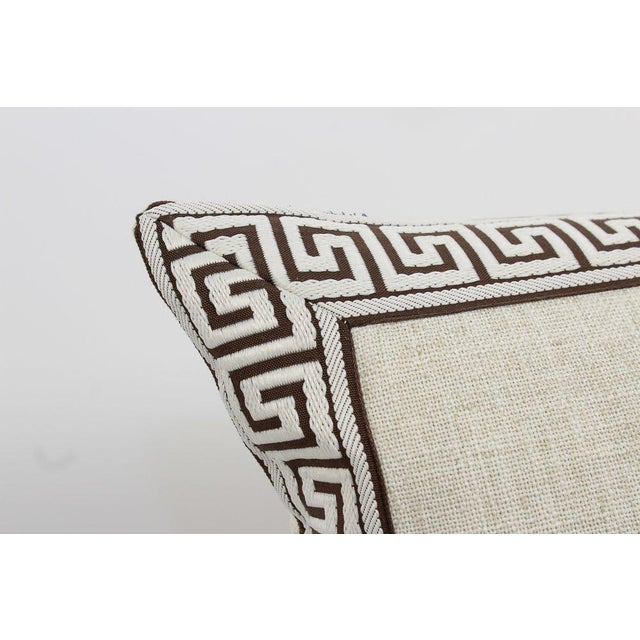 Oatmeal and Chocolate Greek Key Linen Pillows, a Pair For Sale - Image 4 of 6