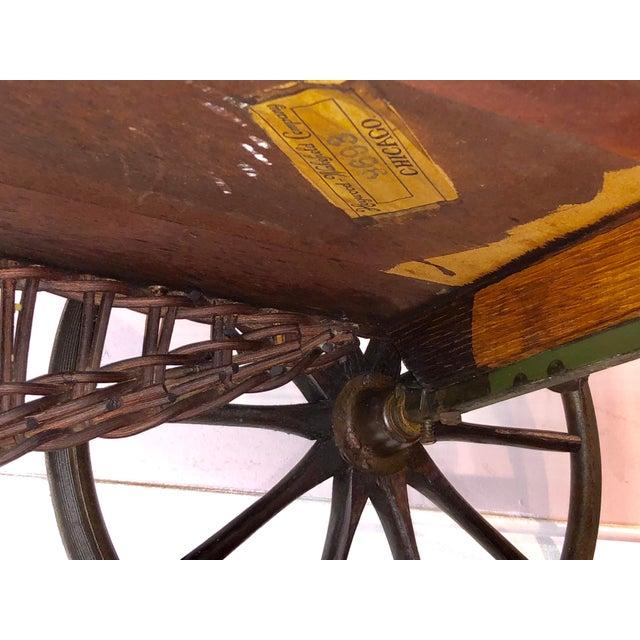 Brown 1890's Victorian Heywood Wakefield Wood Drop Leaf Tea Cart For Sale - Image 8 of 11