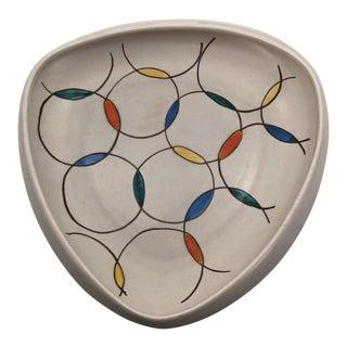 Vintage Anneliese Beckh West German Georg Schmider Mid-Century Triangular Bowl For Sale