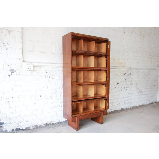 Brown Mid-Century Oak Barrister Bookcase For Sale - Image 8 of 12