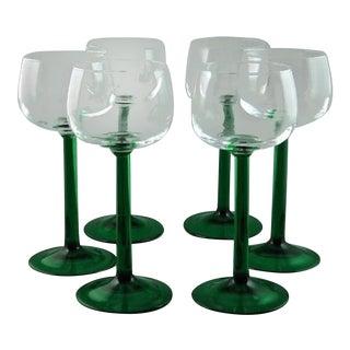 Rhine Wine Emerald Glasses - Set of 6