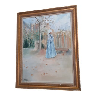 """1980s """"Kain in Autumn"""" Figurative Swedish Painting by Carl Larsson, Framed For Sale"""