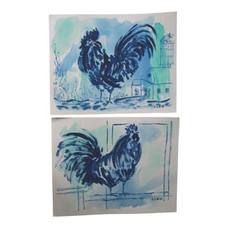 Chinoiserie Blue Rooster Paintings by Cleo For Sale