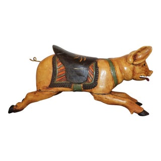 Carved Wood Carousel Pig For Sale
