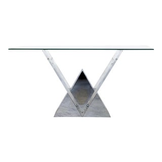 Contemporary Modern Shlomi Haziza Chrome Lucite Glass Large Console Table 1990s For Sale
