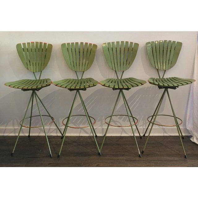 Vintage Molded Mood Slat Barstools - Set of 4 - Image 5 of 5