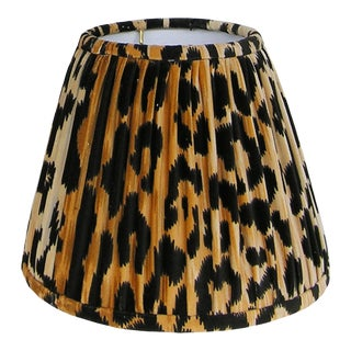 Gathered Leopard Velvet Lamp Shade 8x10x9 For Sale