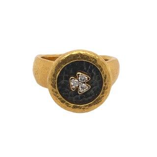 Gurhan Unisex 24k Hammered Gold & Diamond Ring For Sale