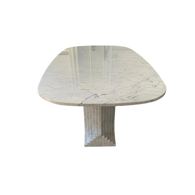 Carlo Scarpa 1970s Carrara Marble Dining Table For Sale - Image 4 of 7