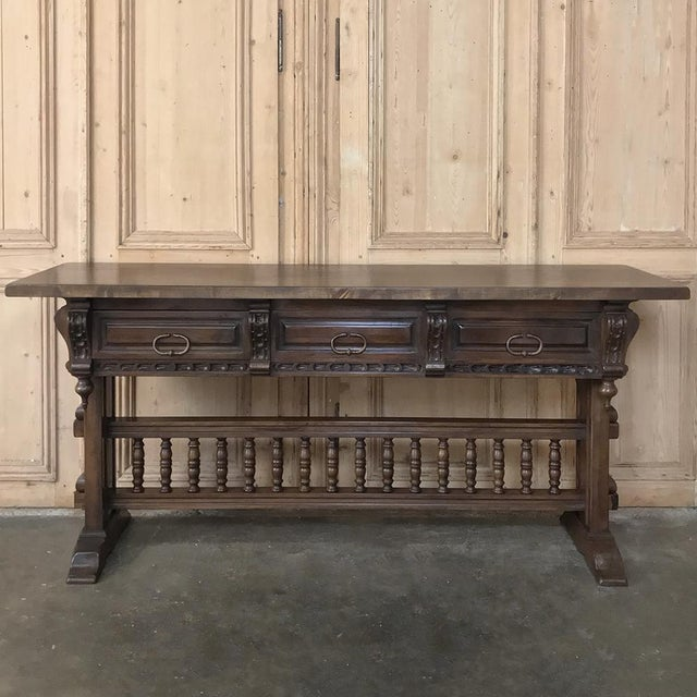 Antique Spanish Renaissance Walnut Hall Table ~ Console For Sale - Image 4 of 12