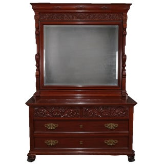 Antique Horner School Carved Mahogany Chest of Drawers and Mirror, Circa 1900 For Sale
