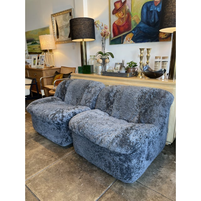 Reupholstered Curly Shearling Swivel Chair - 2 Available For Sale - Image 9 of 10