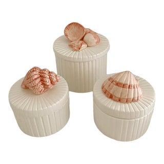 Vintage Fitz & Floyd Ceramic Sea Shell Trinket Box - Set of 3 For Sale