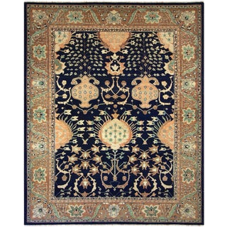 Kafkaz Sun-Faded Louetta Drk. Blue/Brown Hand-Knotted Rug - 9'4 X 11'8